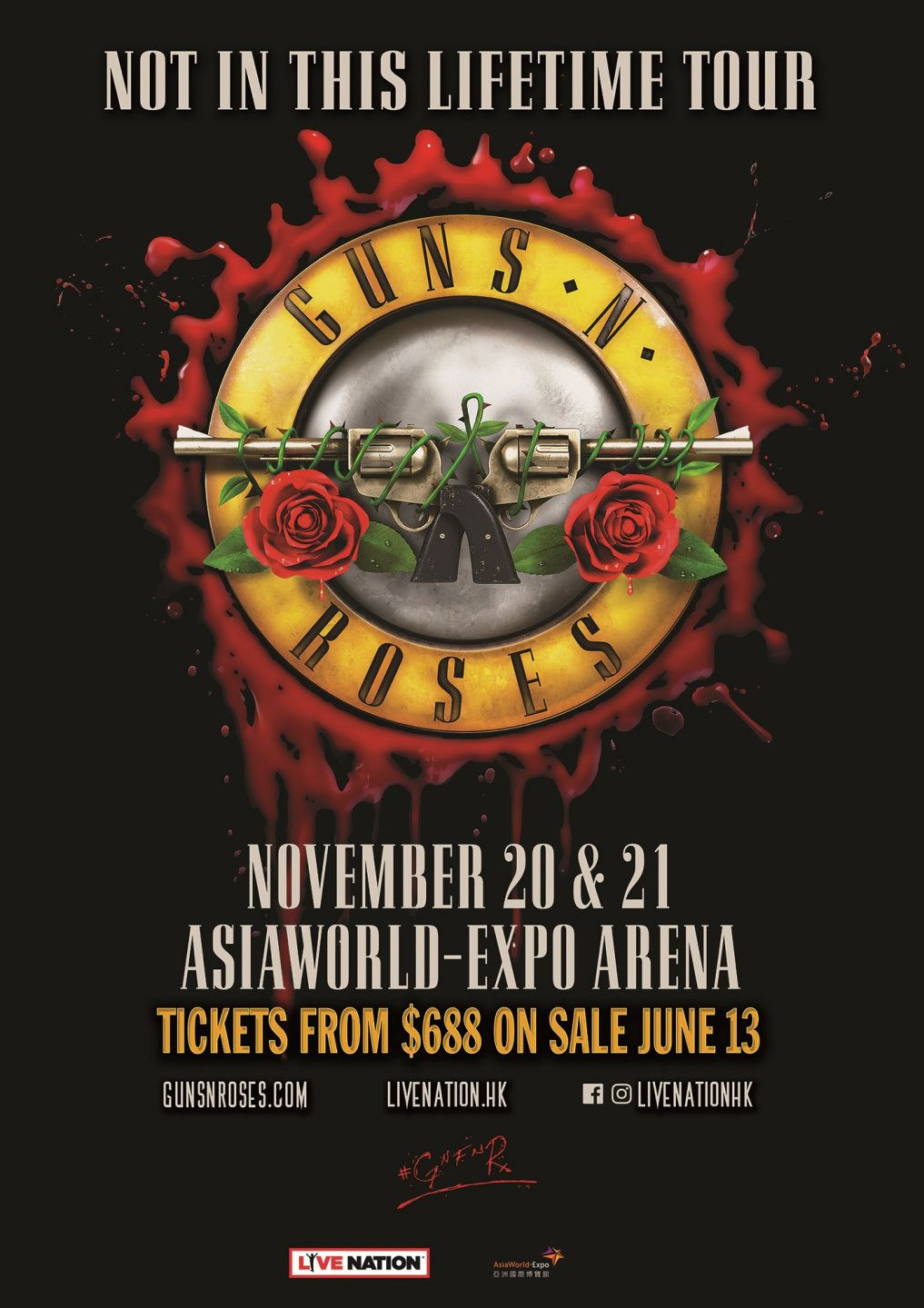 Guns N Roses Not In This Lifetime Tour 2018 Hong Kong Timable